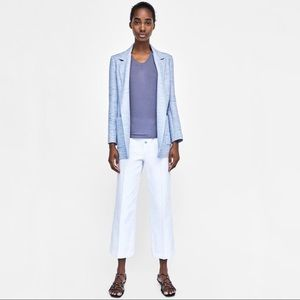 Zara Basic Light Blue Textured Open Blazer Size L